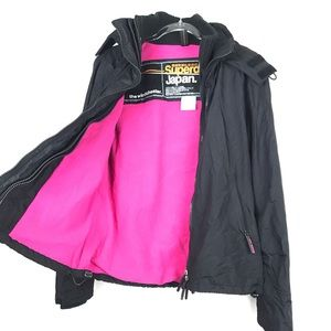 Superdry Windcheater Hooded Black Jacket Large